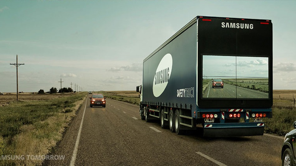Samsung attaches screen to semi-truck to show the road ahead